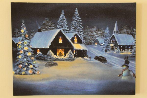 Snowy Village Scene Print- LED RW4006