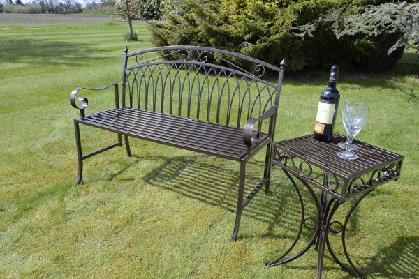 Versailles Folding Metal Garden Bench in Antique Bronze Finish-OGLF21-13409