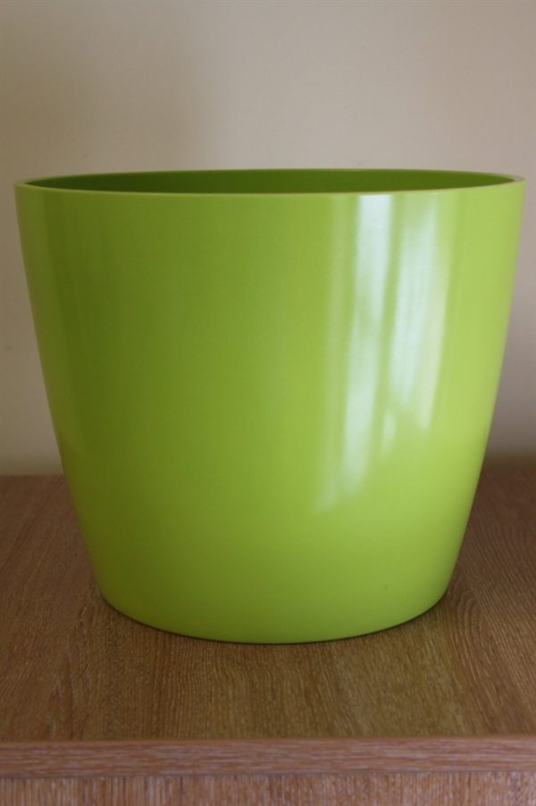 Quality Large Lime Green Plastic Plant Pot Cover - Diameter 28.5cms