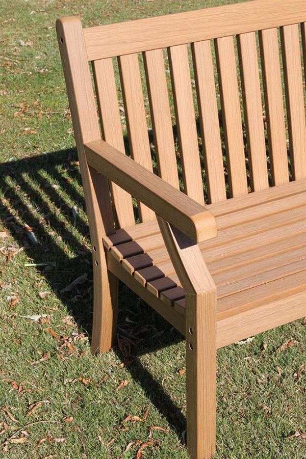 Teak Effect Polymer 2 Seater Garden Bench- Teak Colour