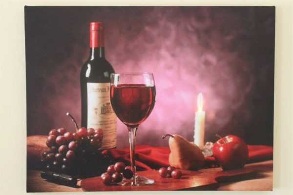 Red Wine, Grapes and Candle Print LED HD1356