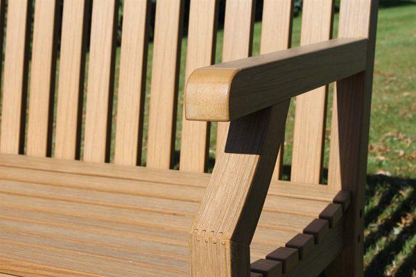 Teak Effect Polymer 3 Seater Garden Bench- Teak Colour
