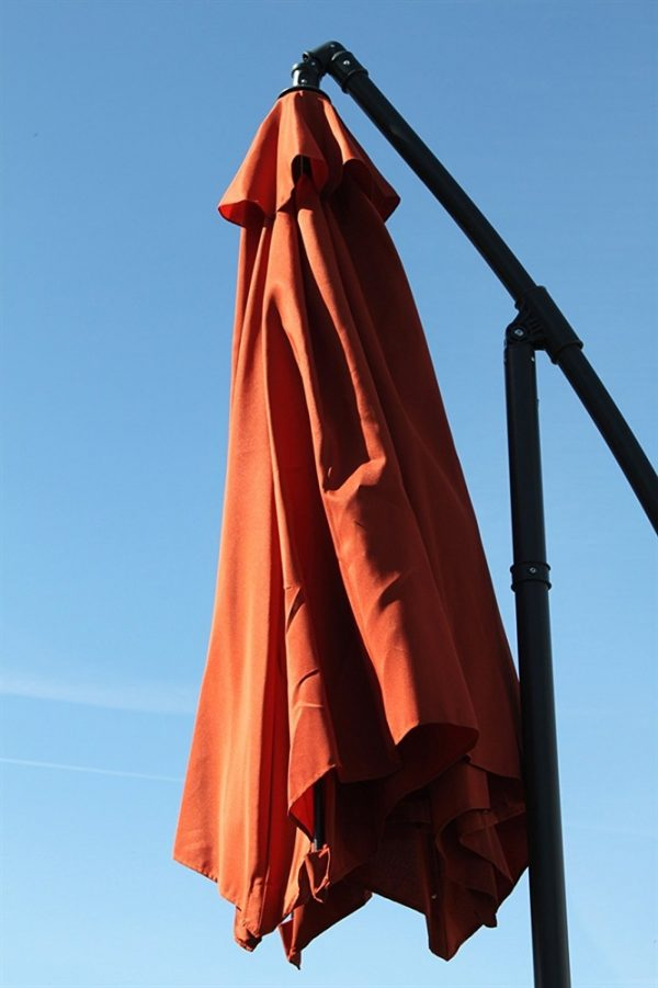 Cantilever 2.7M Wide Hanging Parasol In Terracotta