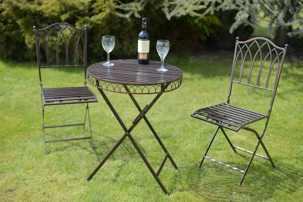 Versailles Metal Garden Bistro Set-Antique Bronze-INCLUDING SEAT PADS