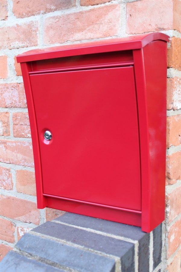 Contemporary Galvanised Wall Mounted Post Box Red