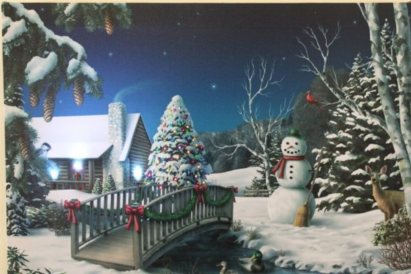 Snowman & Tree Print With LED HD2044