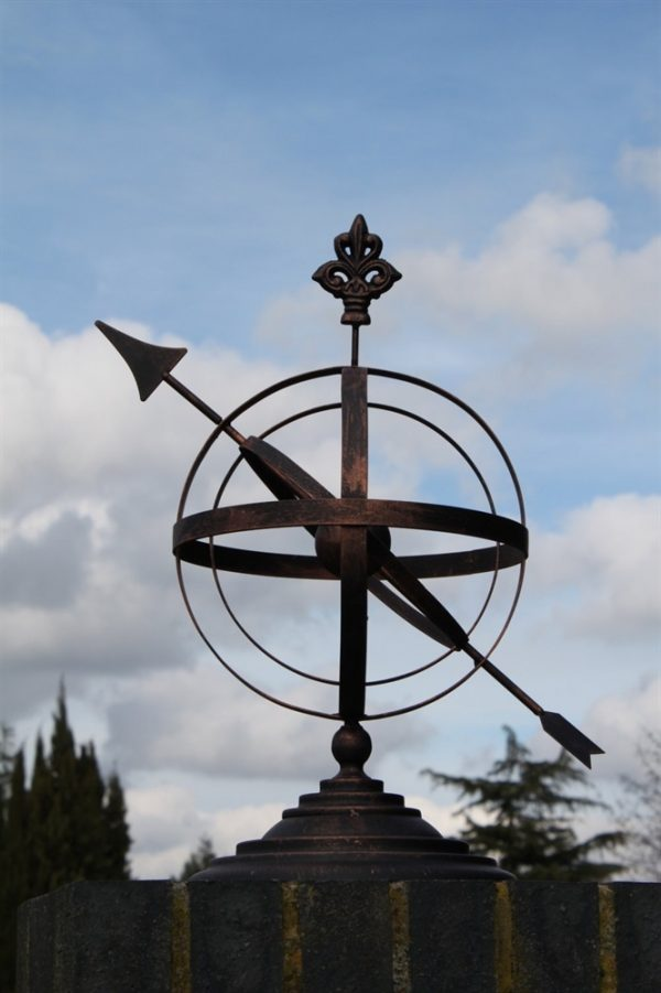 Steel  Armillary Sundial in Antique Bronze Finish