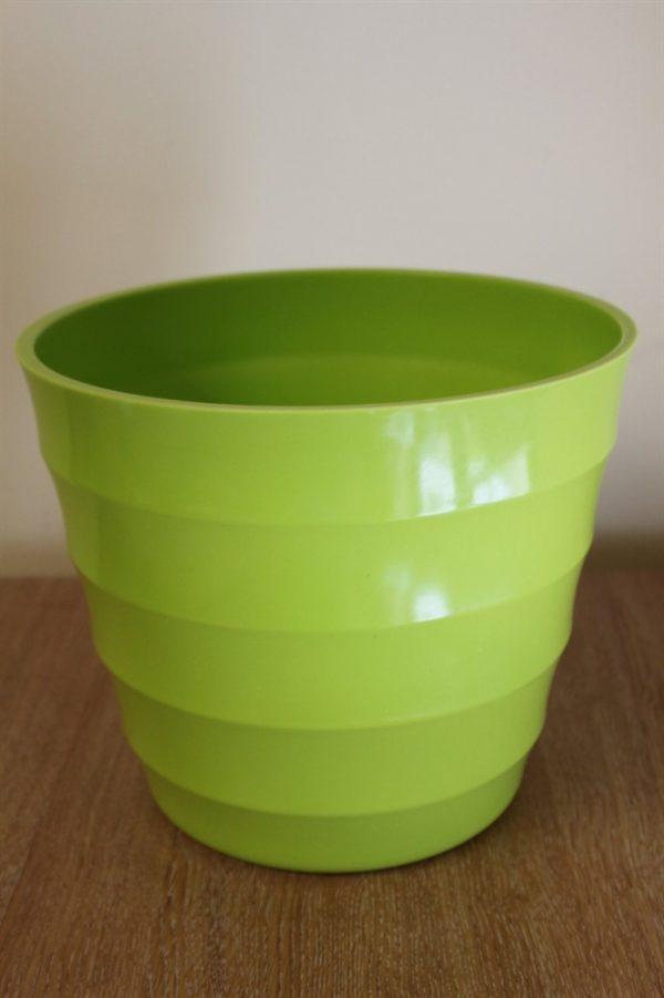 Quality Lime Green Rigid Plastic Plant Pot Cover  - Diameter 18.5cms