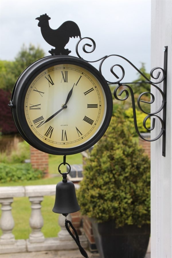Double Sided Garden Clock With Bell and Cockeral