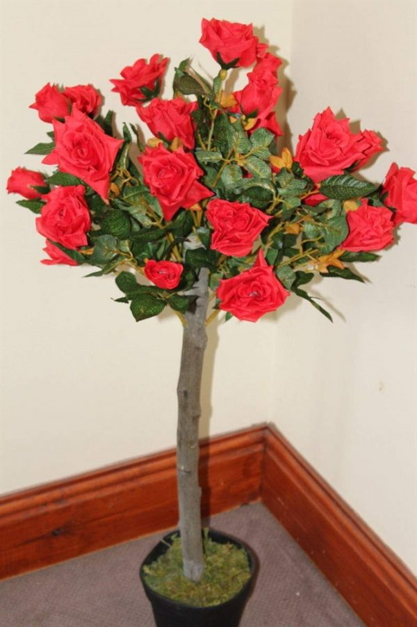 1M Tall Artificial Half Standard Rose Tree - Red