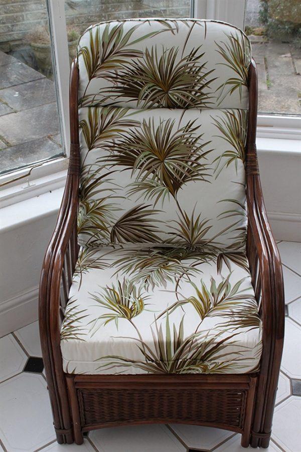 Verona Cane Furniture -Single Chair - Palm Design Fabric