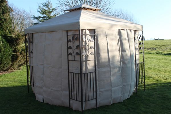 2.5M Gazebo-Beige Cover & 4 Polyester Curtains