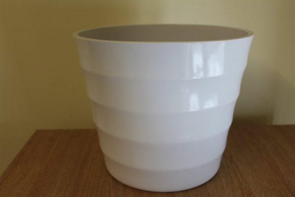 Quality Small White Rigid Plastic Plant Pot Cover  -Diameter 15.5cms