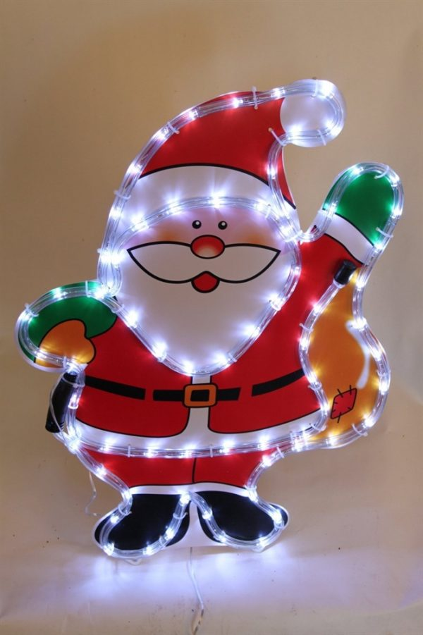 Christmas Santa Shouldering Presents Rope Light