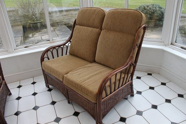 Verona Cane Furniture -2 Seater Sofa - Coffee colour fabric