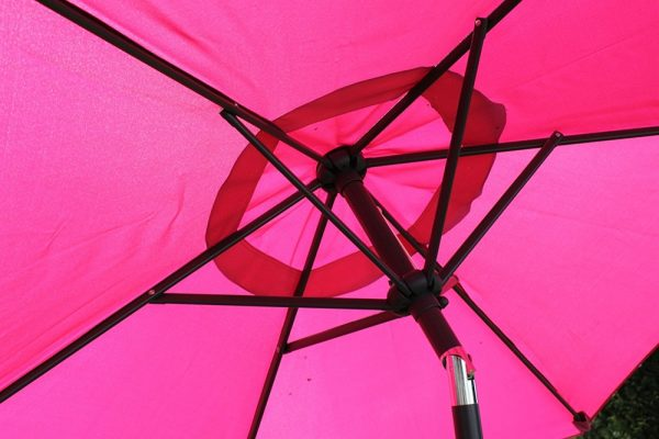 2.1M Wide Parasol With Tilt and Crank-Pink