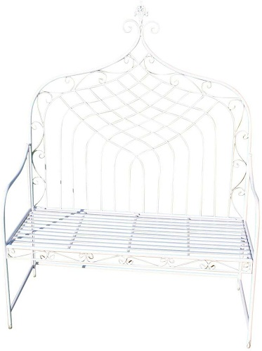 Enjoyable Hign Back Folding Metal Bench In A White Finish Theyellowbook Wood Chair Design Ideas Theyellowbookinfo