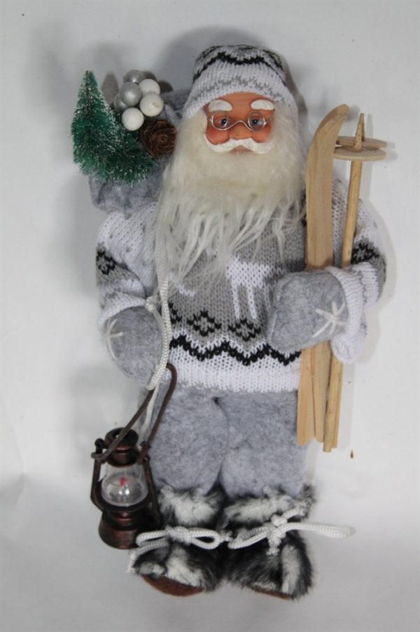 Father Christmas Figure With Skis and Lantern - Rustic Style and 30cms Tall