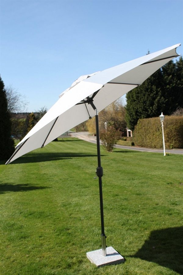 2.7M Wide Garden Parasol With Tilt and Crank-Grey