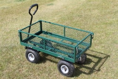 Large Green 4 Wheeled Garden Trolley With Drop Sides