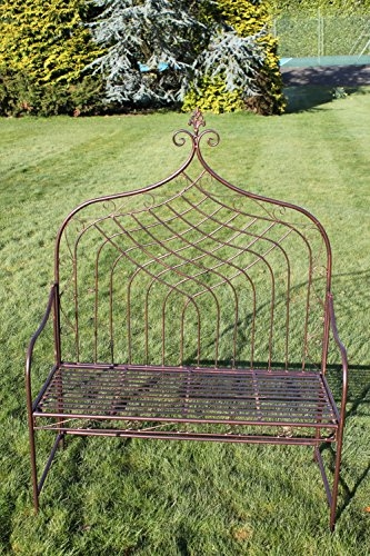 Elizabethan Style High Back Folding Metal Bench in Bronze