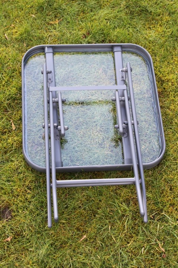 Metal Framed Glass Top Folding Garden Side Table