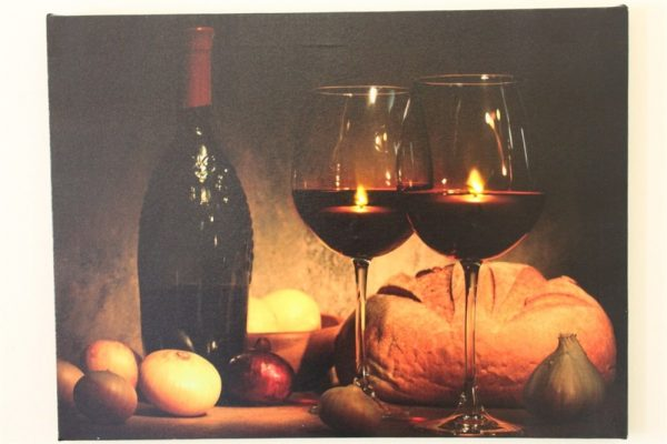 Wine Bottle & Glass Candles print LED HD1185