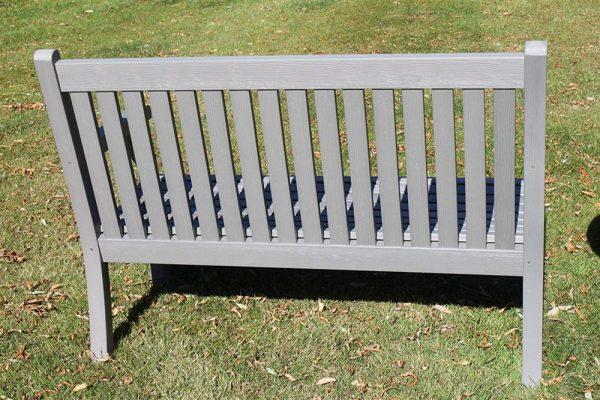 Teak Effect Polymer 2 Seater Garden Bench- Grey Colour