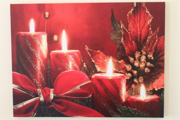 Red Candle, Bow & Poinsettia Print LED HD1027