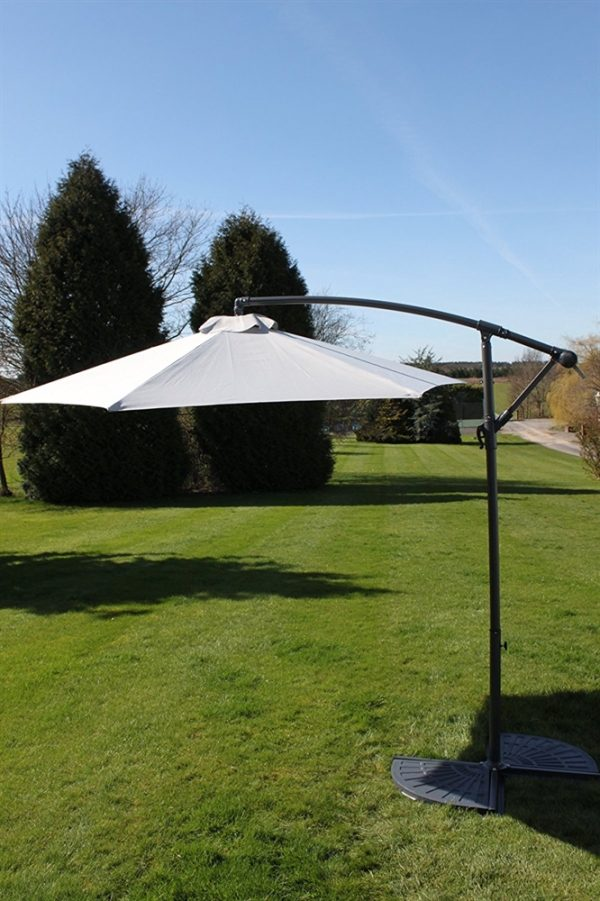 Cantilever 2.7M Wide Hanging Parasol In Grey