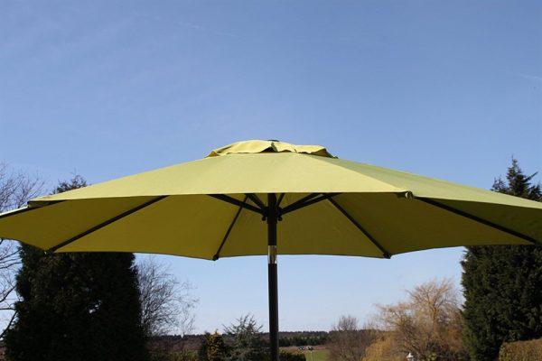 2.7M Wide Garden Parasol Tilt and Crank-Lime Green
