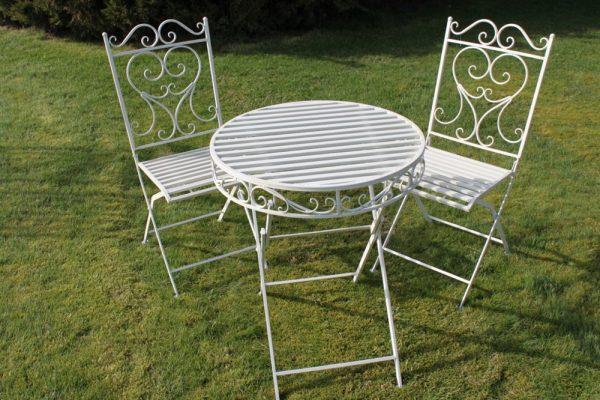 Versailles Style Metal Garden Bistro Set in Plain White Finish