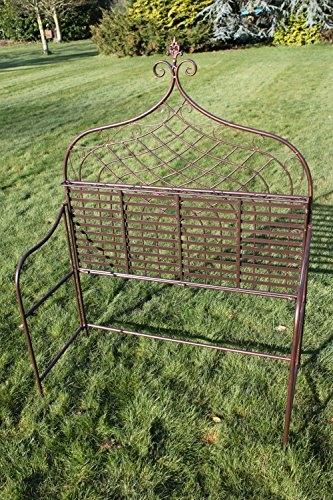 Elizabethan Style High Back Folding Metal Bench in Bronze