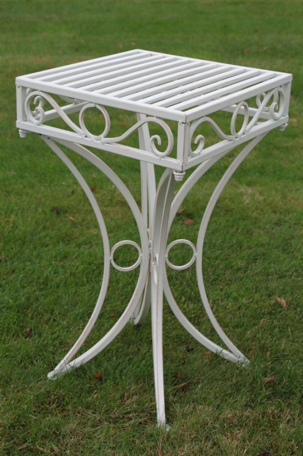 Versailles Metal Garden table in Antique White Finish