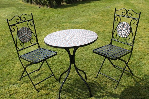 2 Seater 'Brown/Gold Pattern' Mosaic Bistro Patio Garden Set