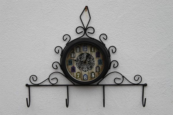 Garden Clock With Coat Hooks