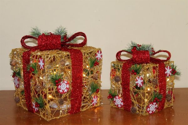 Gold Rattan Parcels with Red Bow-Battery