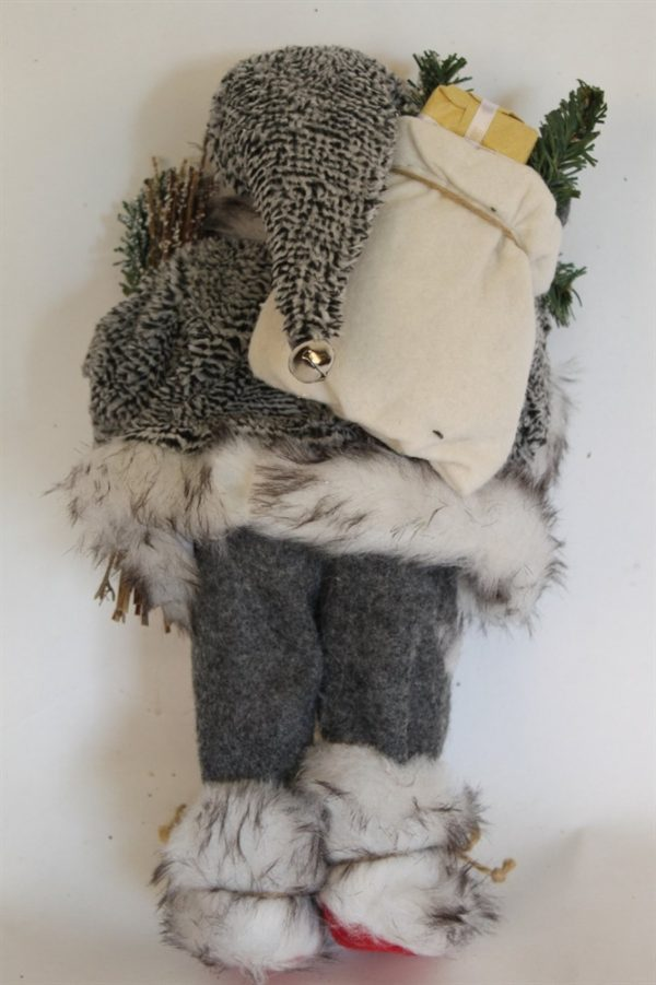Father Christmas Figure With Sack - Rustic Style and 30cms Tall
