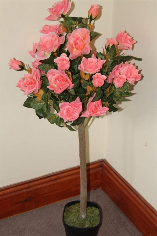 1M Tall Artificial Half Standard Rose Tree - Pink