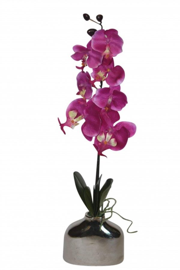 Artificial Cerise Orchid in a Pot- FL12711