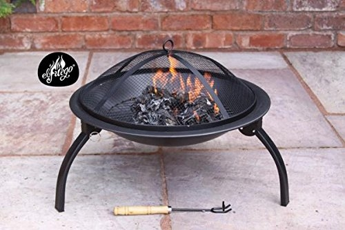 Solo Steel Garden Fire Pit Complete with Mesh Hood and Handle