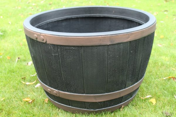 Stewart Plastic Garden Outdoor Oak Effect Half Barrel - 61 x 40cms